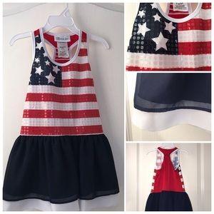 Bonnie Jean patriotic sequined racerback dress